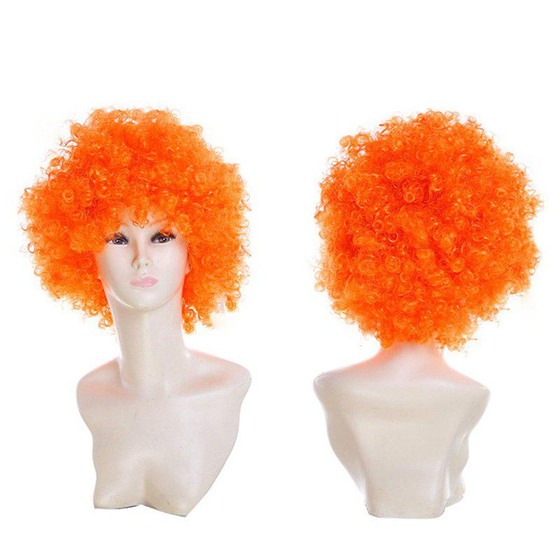 Fluffy Afro Curly Short Clown Fans Carnival Party Wig - PEARL KUMQUAT