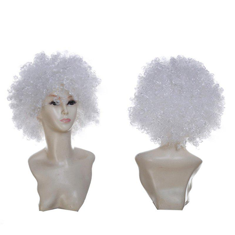 Fluffy Afro Curly Short Clown Fans Carnival Party Wig - WHITE