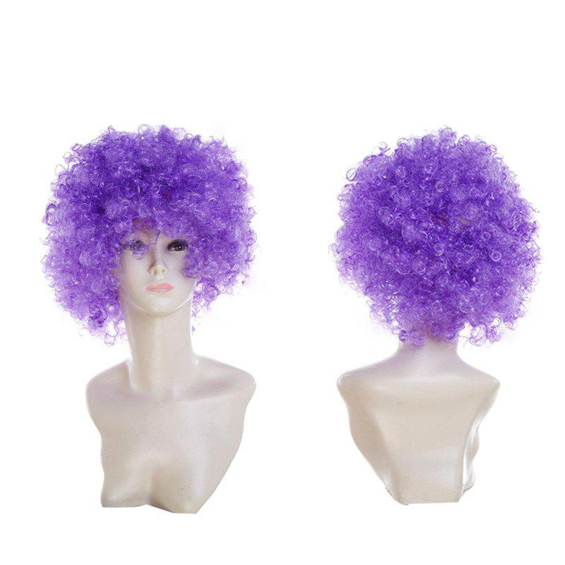 Fluffy Afro Curly Short Clown Fans Carnival Party Wig - LIGHT PURPLE