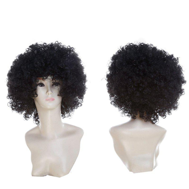 Fluffy Afro Curly Short Clown Fans Carnival Party Wig - Noir