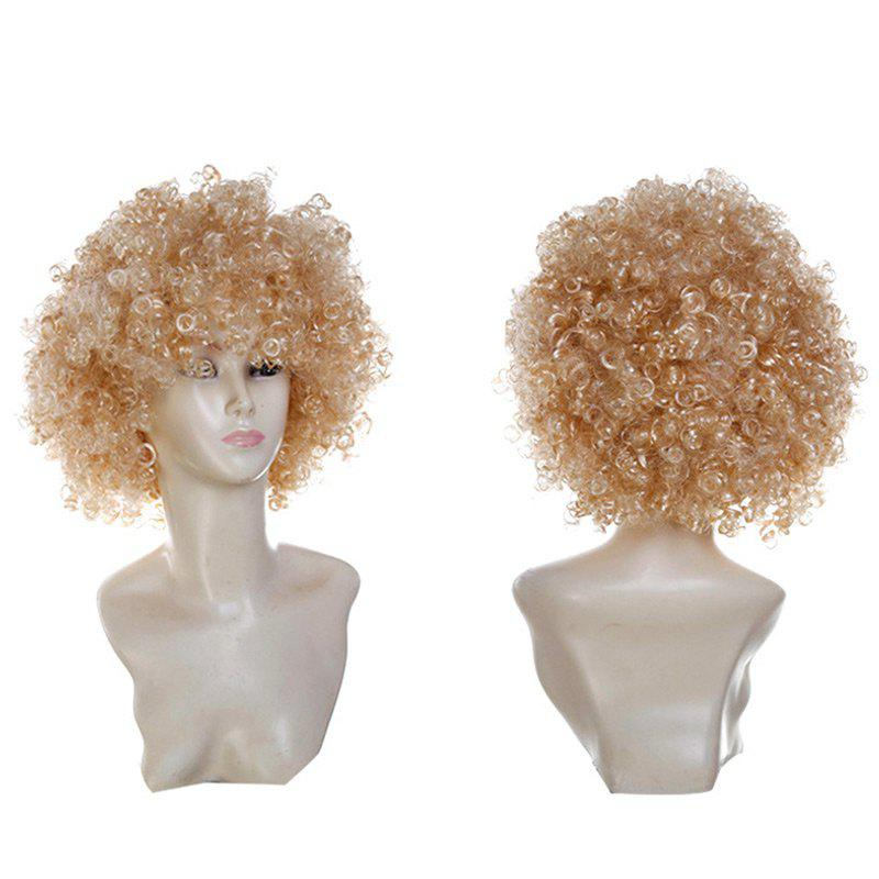 Fluffy Afro Curly Short Clown Fans Carnival Party Wig - GOLDEN