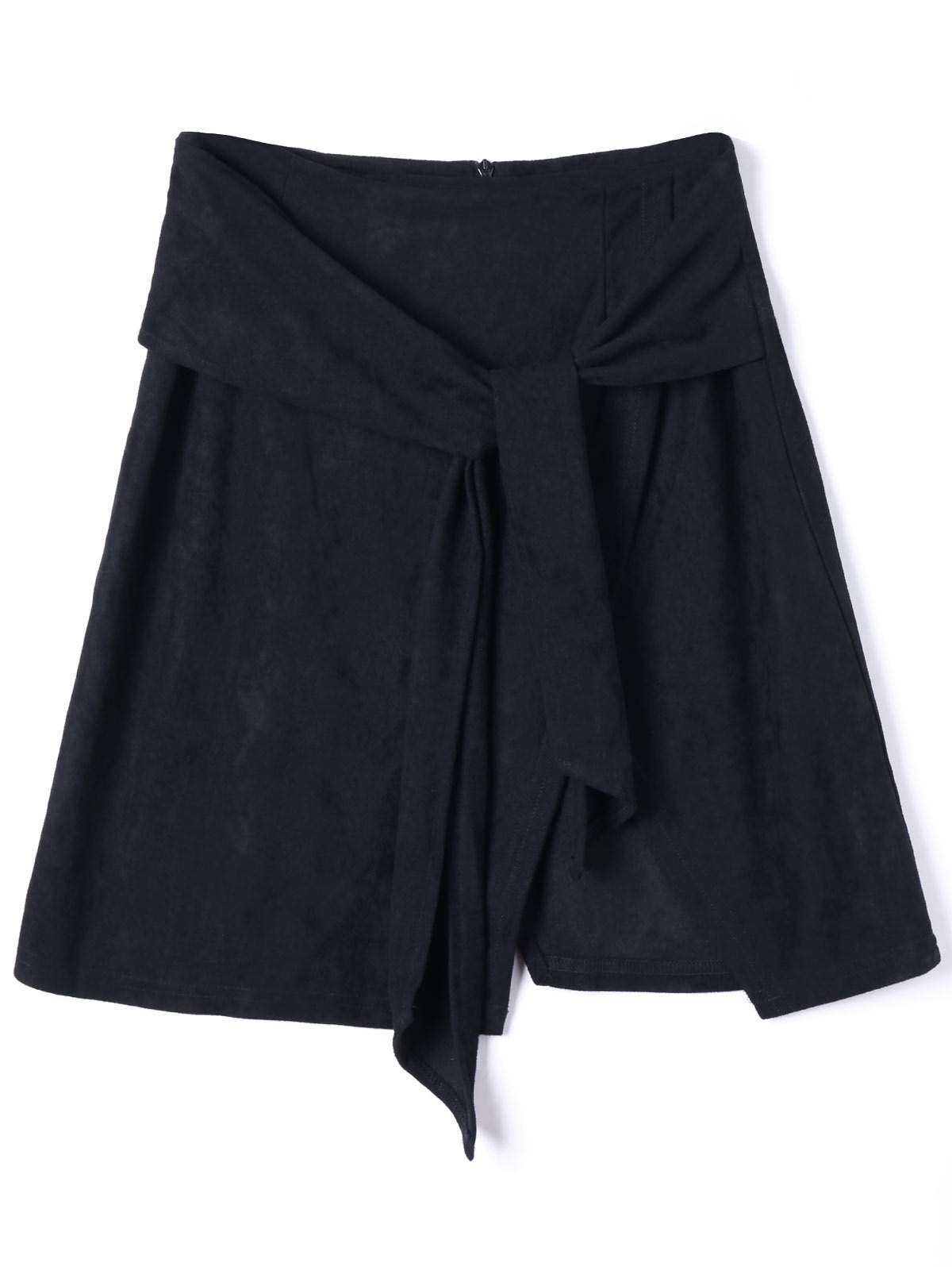 Slit Tie Front Mini Skirt - BLACK M