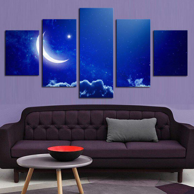 MoonNight Sky Pattern Unframed Split Canvas Paintings burning guitar pattern unframed wall art canvas paintings