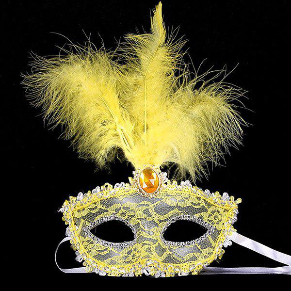 Faux Crystal Embellished Lace Feather Party Mask цена 2017