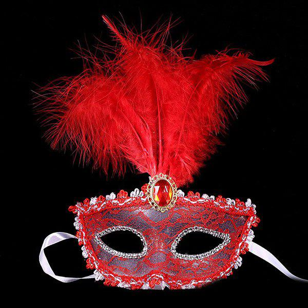 Fais Crystal Embellished Lace Feather Party Mask - Rouge