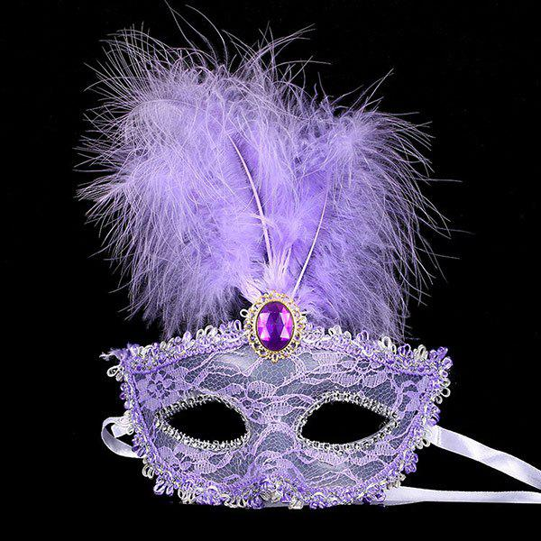 Fais Crystal Embellished Lace Feather Party Mask - Pourpre