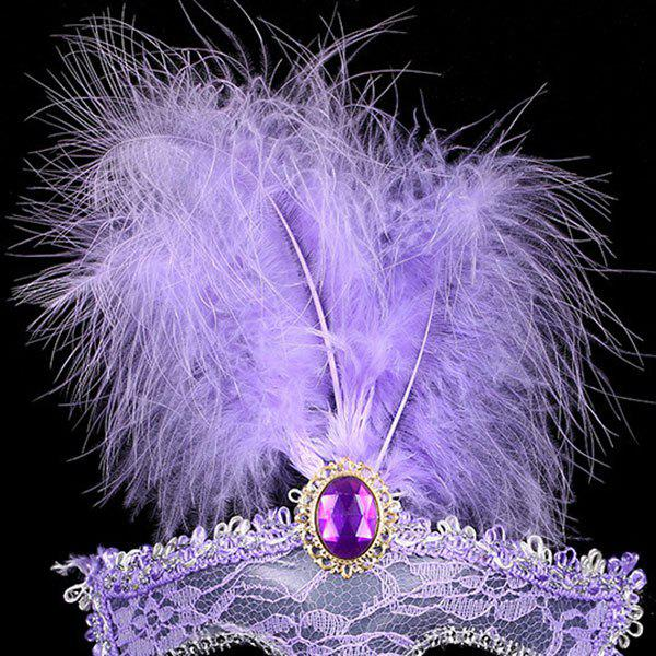 Faux Crystal Embellished Lace Feather Party Mask - PURPLE