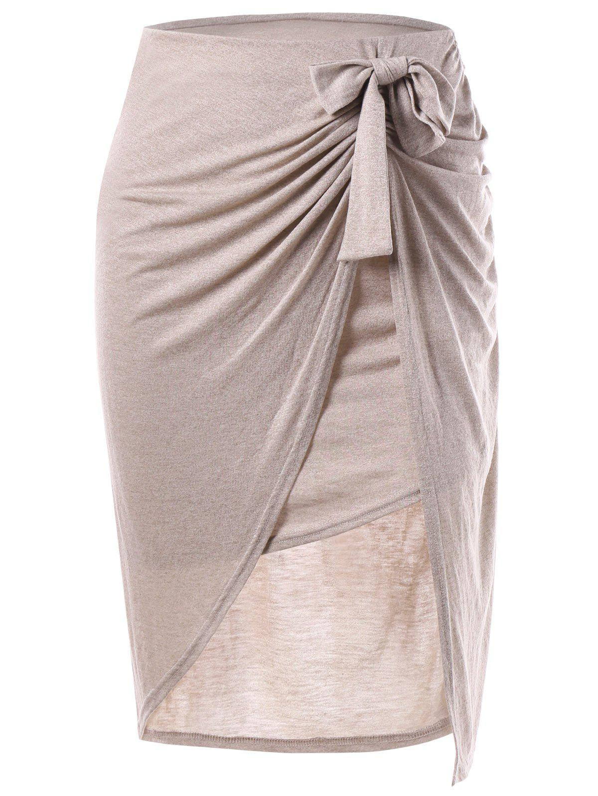 Bowknot Slit Draped Skirt - YELLOWISH PINK XL