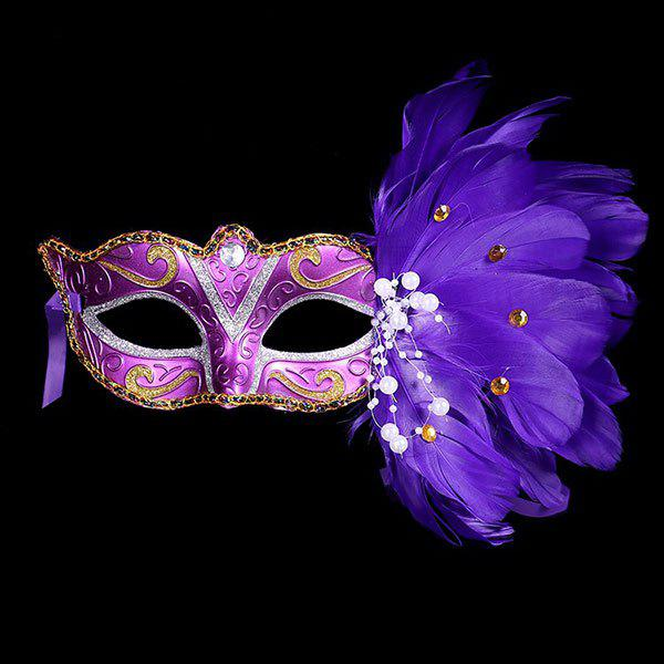 Pearl Embellished Party Feather Masquerade Mask - PURPLE