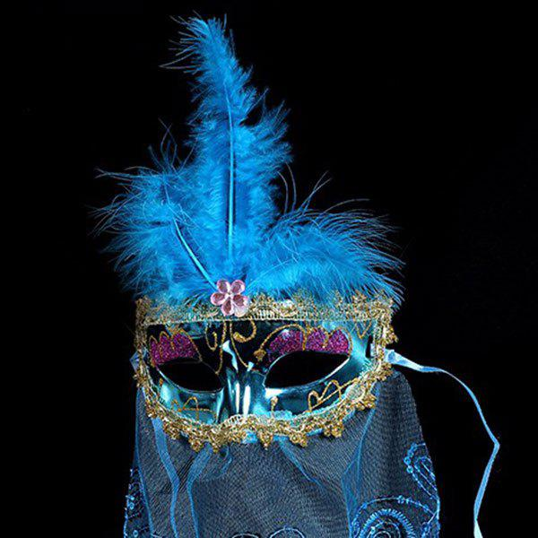 Indian Princess Belly Dance Tulle Feather Party Mask - BLUE