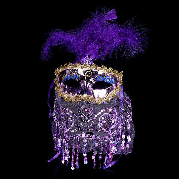 Indian Princess Belly Dance Tulle Feather Party Mask - Pourpre