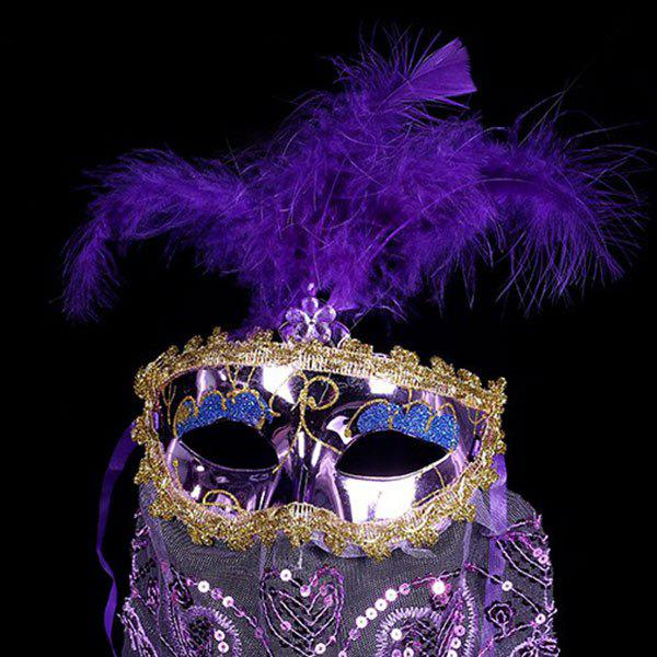 Indian Princess Belly Dance Tulle Feather Party Mask - PURPLE