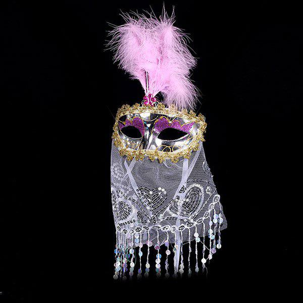 Indian Princess Belly Dance Tulle Feather Party Mask - ROSE PÂLE