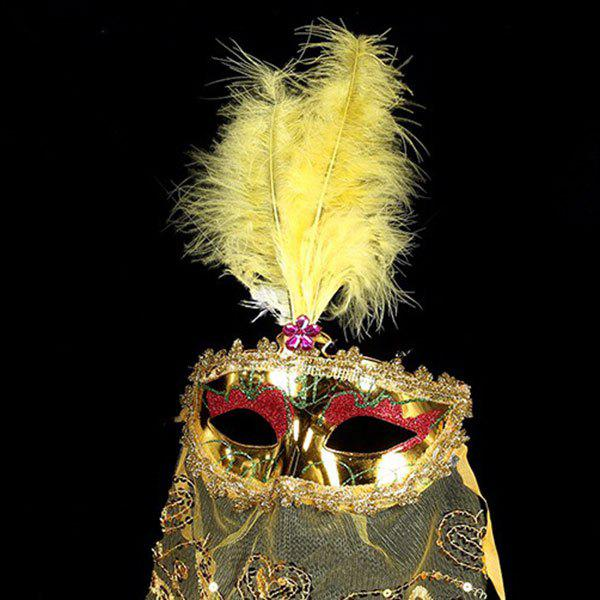 Indian Princess Belly Dance Tulle Feather Party Mask - YELLOW