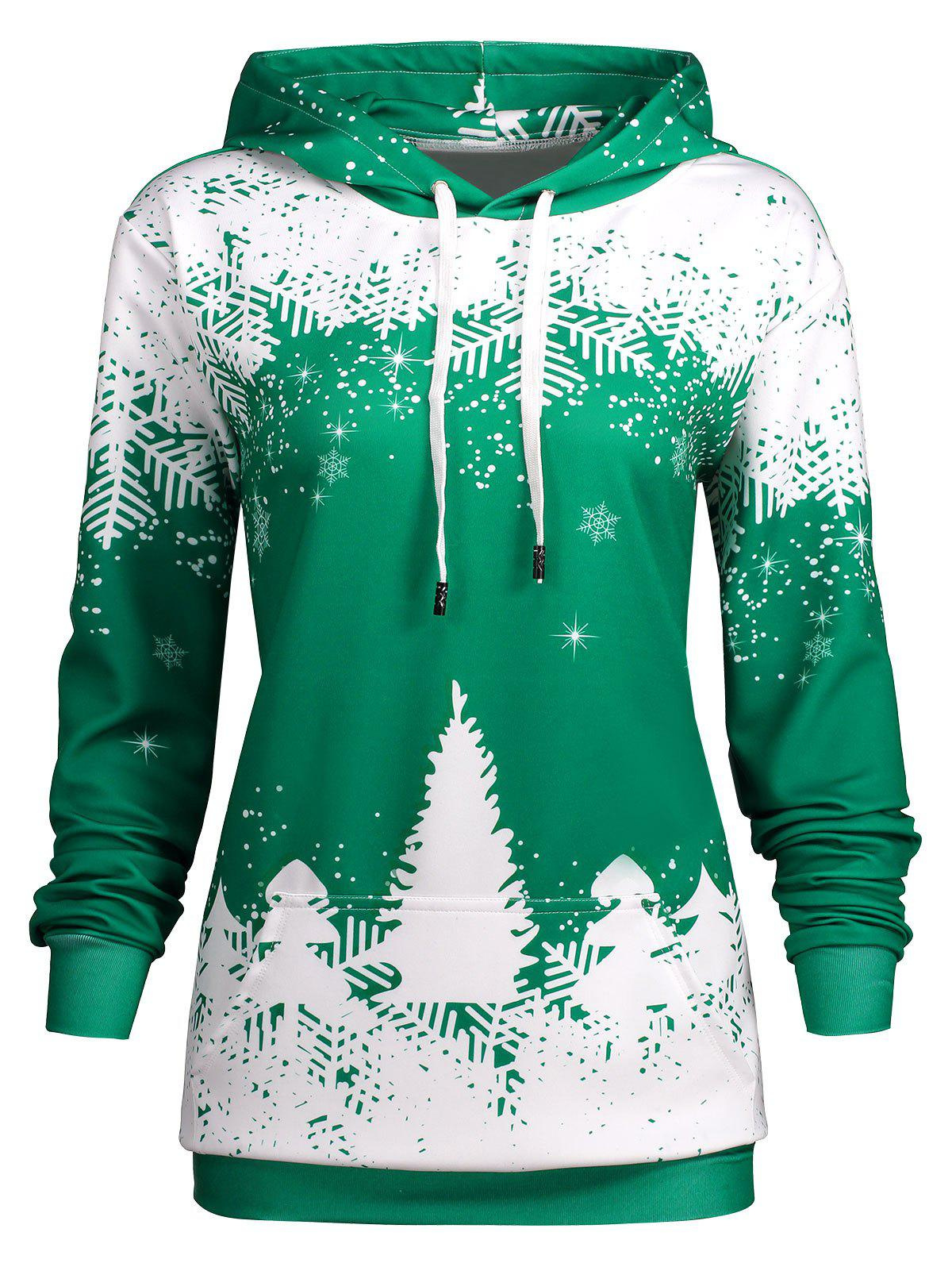 Plus Size Christmas Snowflake Tree Hoodie with Pocket plus size plain drop shoulder hoodie with pocket
