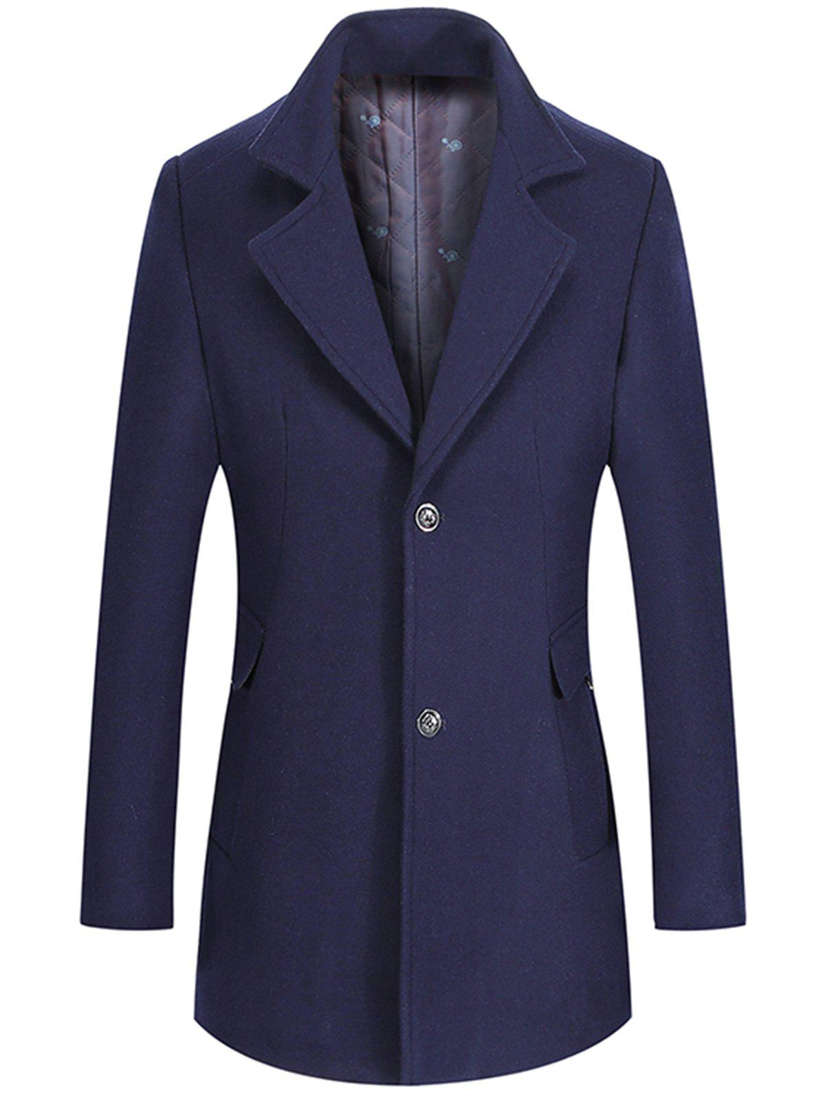 Wool Mix Lapel Collar Single Breasted Coat single breasted lapel lengthen wool coat