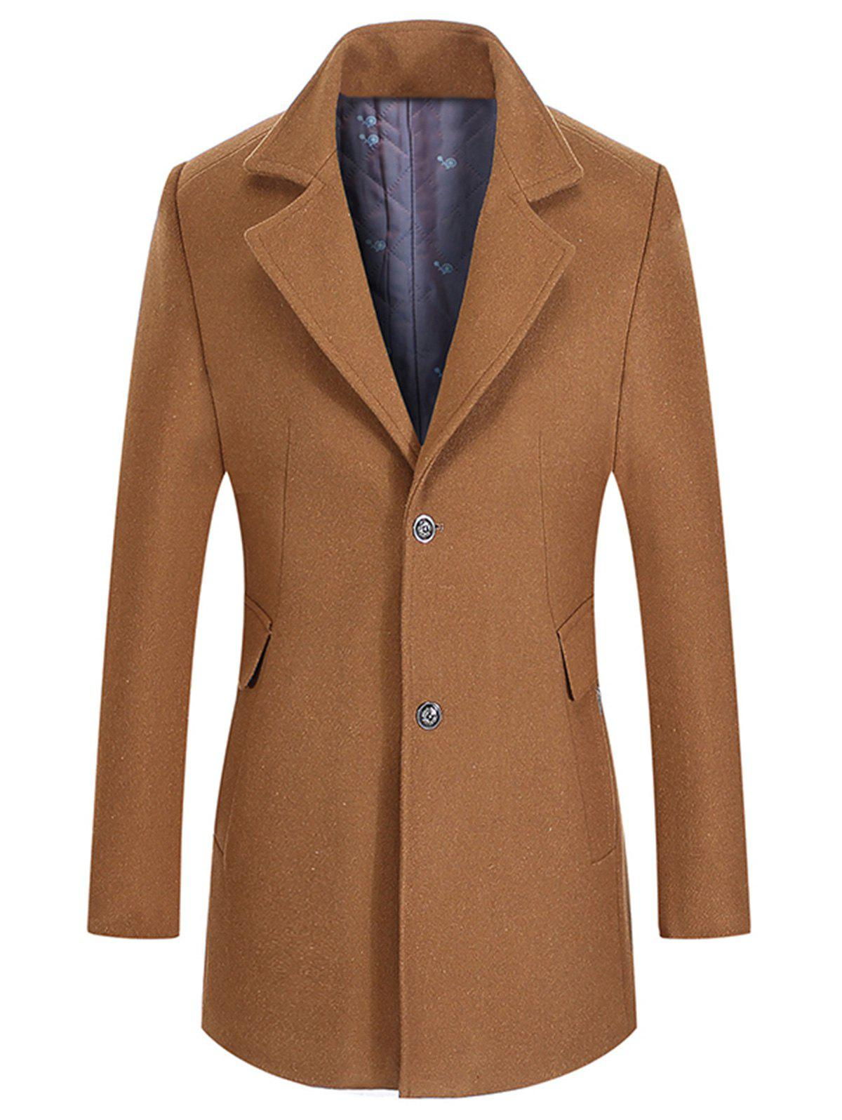 Wool Mix Lapel Collar Single Breasted Coat - CAMEL L