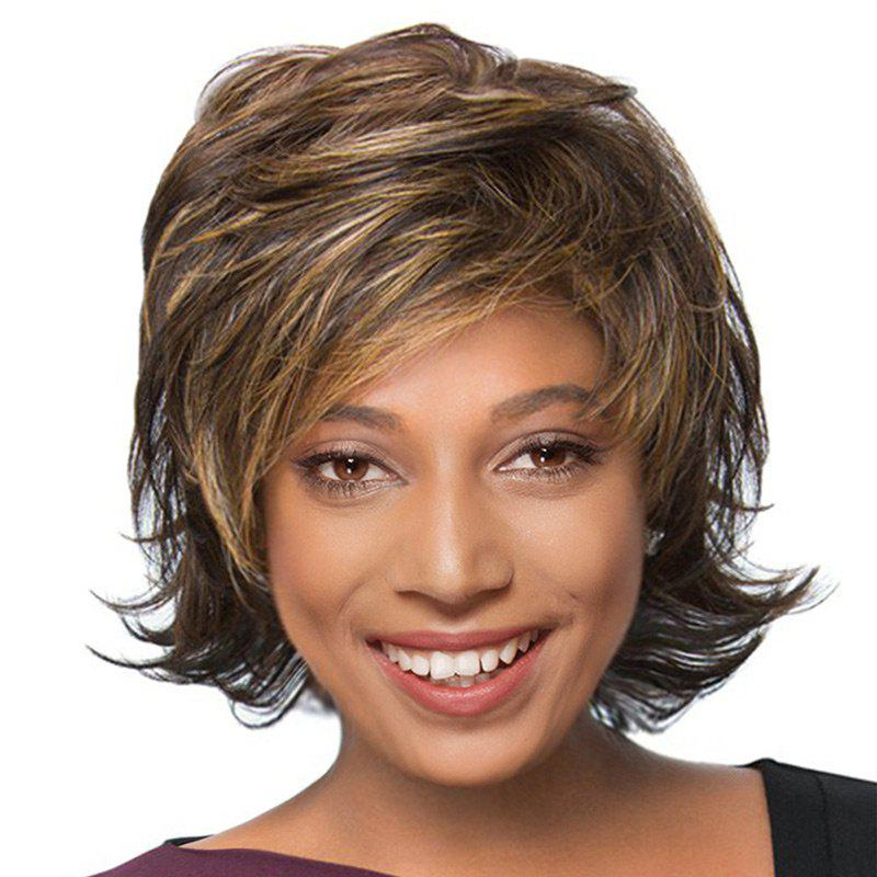 Short Inclined Bang Fluffy Tail Upwards Natural Straight Human Hair Wig - COLORMIX