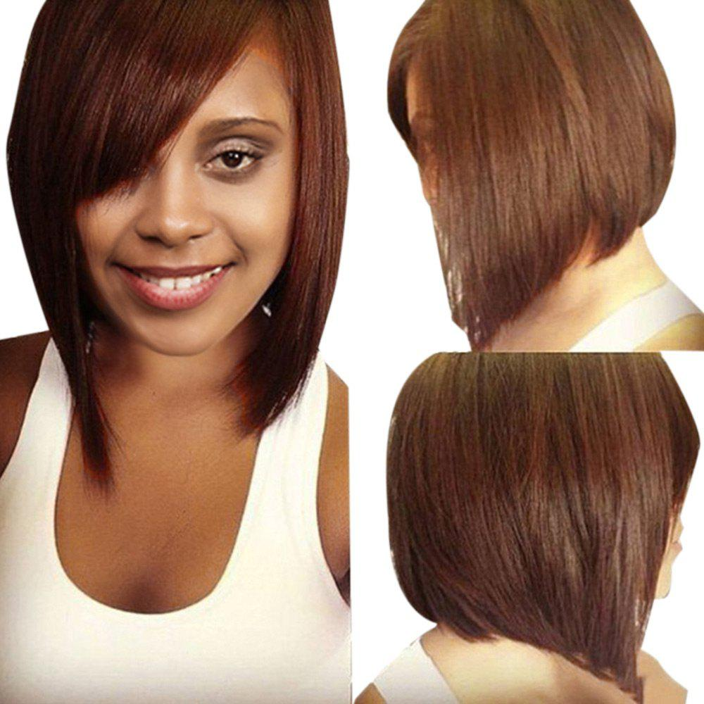 Short Oblique Bang Straight Inverted Bob Human Hair Wig - COLORMIX