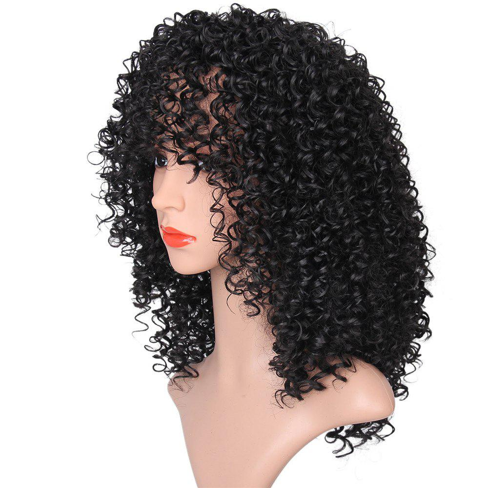 Medium See-through Fringe Fluffy Afro Curly Synthetic Wig - JET BLACK