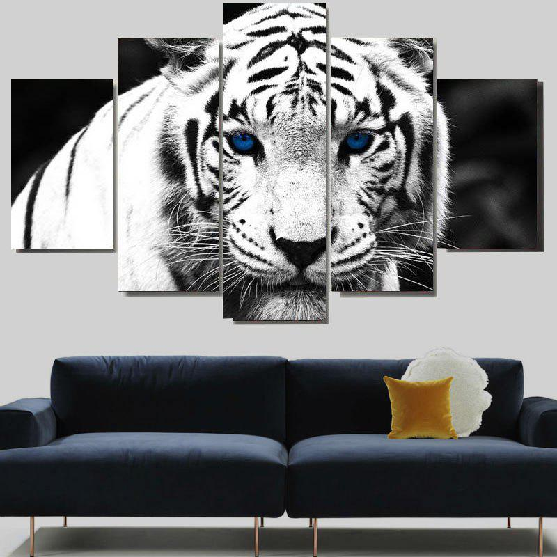White Tiger Print Unframed Split Canvas Paintings seaside sunset sandbeach printed split unframed canvas paintings