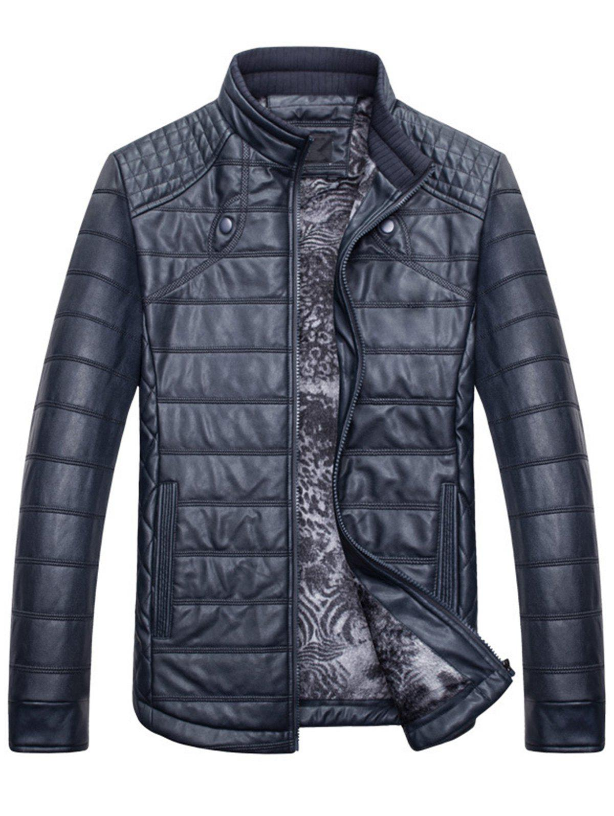 Zipper Stand Collar Faux Leather Jacket - BLUE L