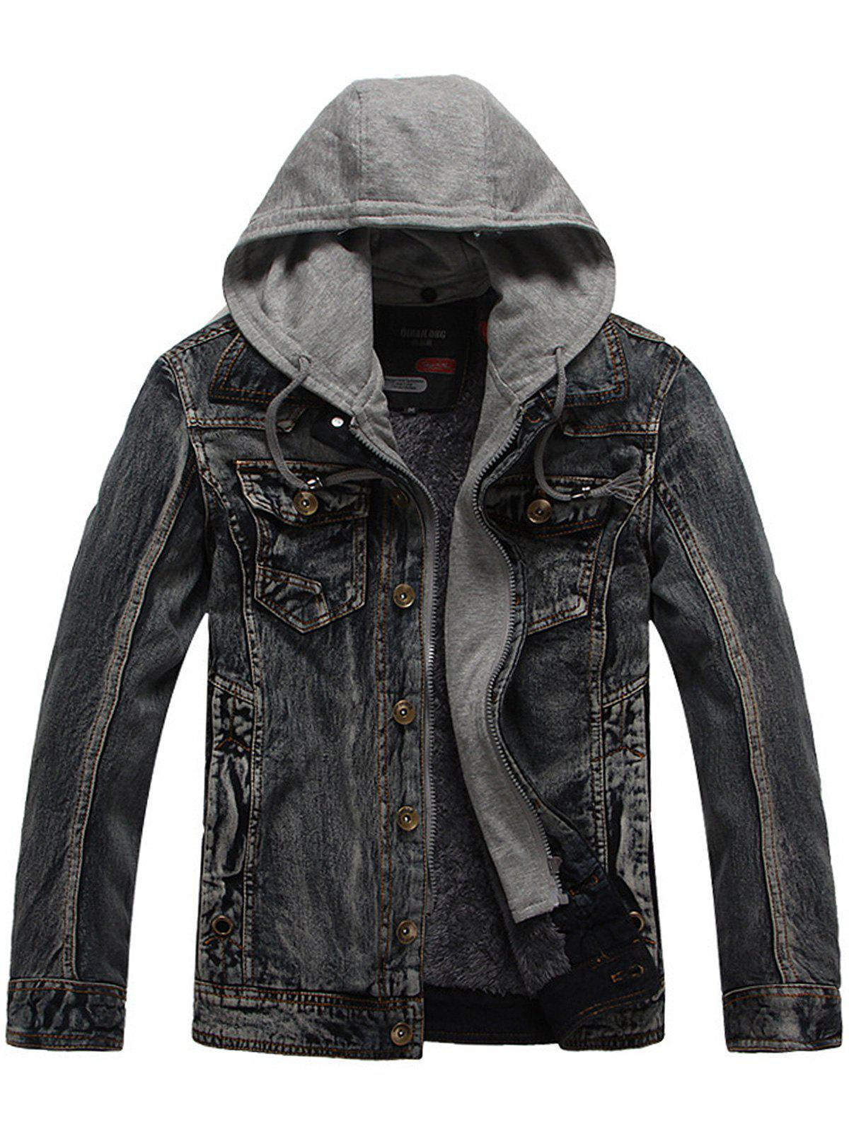 Drawstring Hooded Denim Jean Jacket - GRAY 2XL