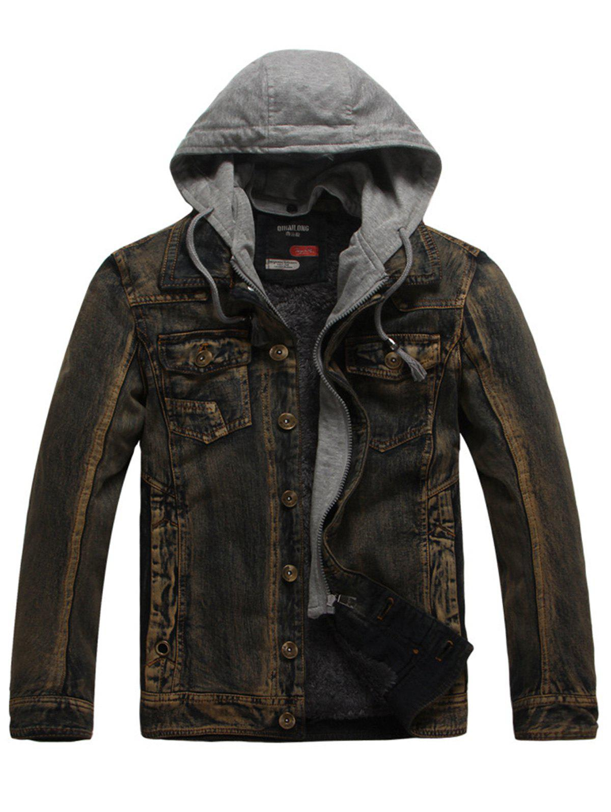 Drawstring Hooded Denim Jean Jacket - COFFEE 2XL