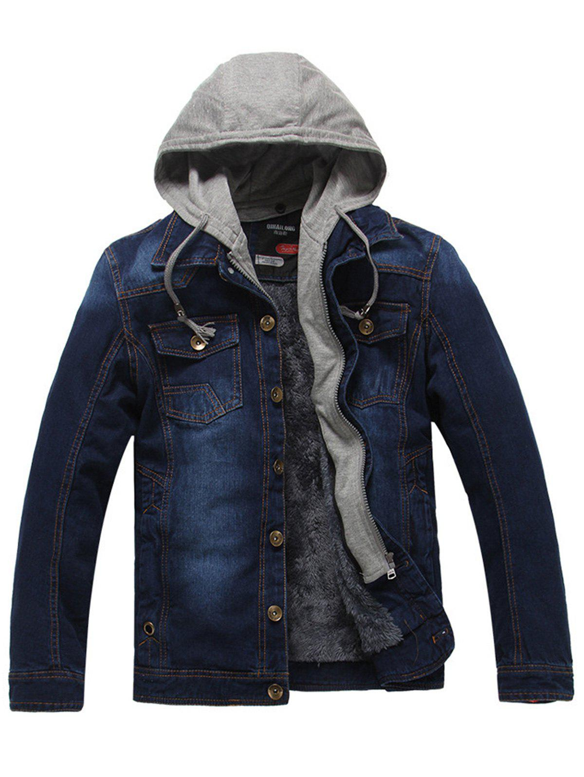 Drawstring Hooded Denim Jean Jacket - CERULEAN 2XL