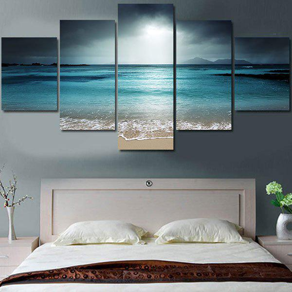 Unframed Sea Wave and Beach Pattern Canvas Paintings burning guitar pattern unframed wall art canvas paintings
