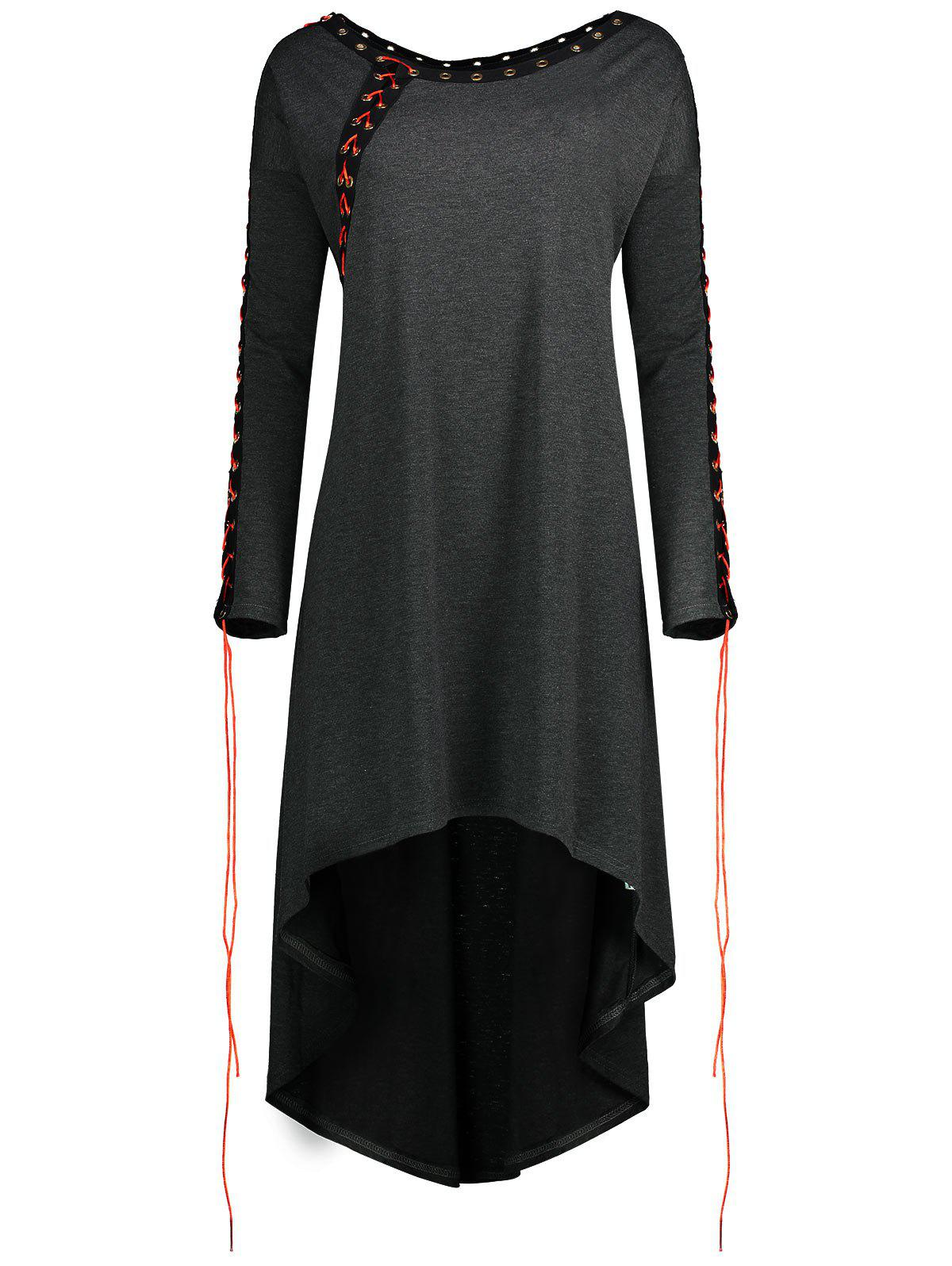 Lace Up Plus Size Asymmetric Tunic Top - DARK GRAY XL