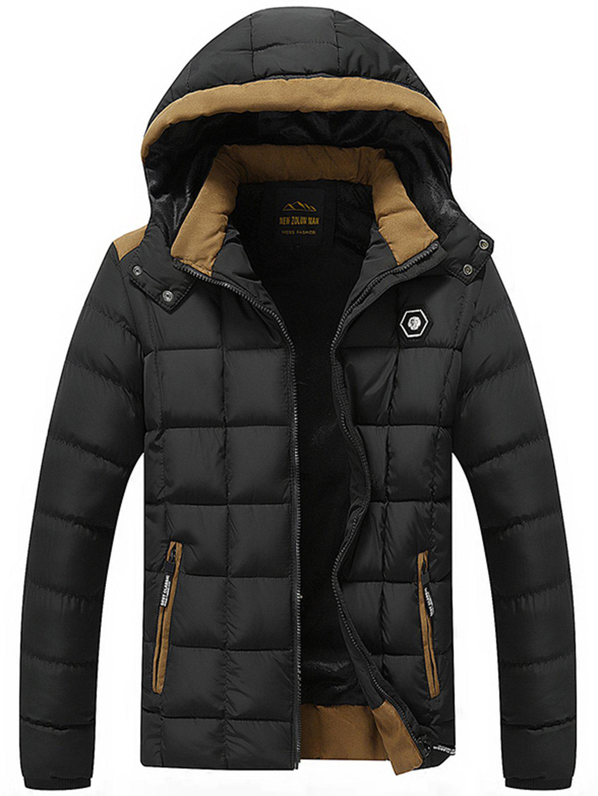 Hooded Metal Patched Puffer Jacket two tone hooded patched casual jacket