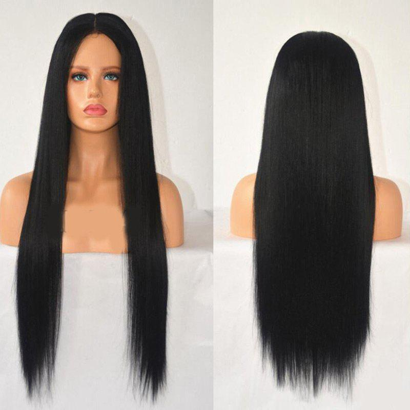 Center Parting Long Straight Heat Resistant Synthetic Wig - BLACK