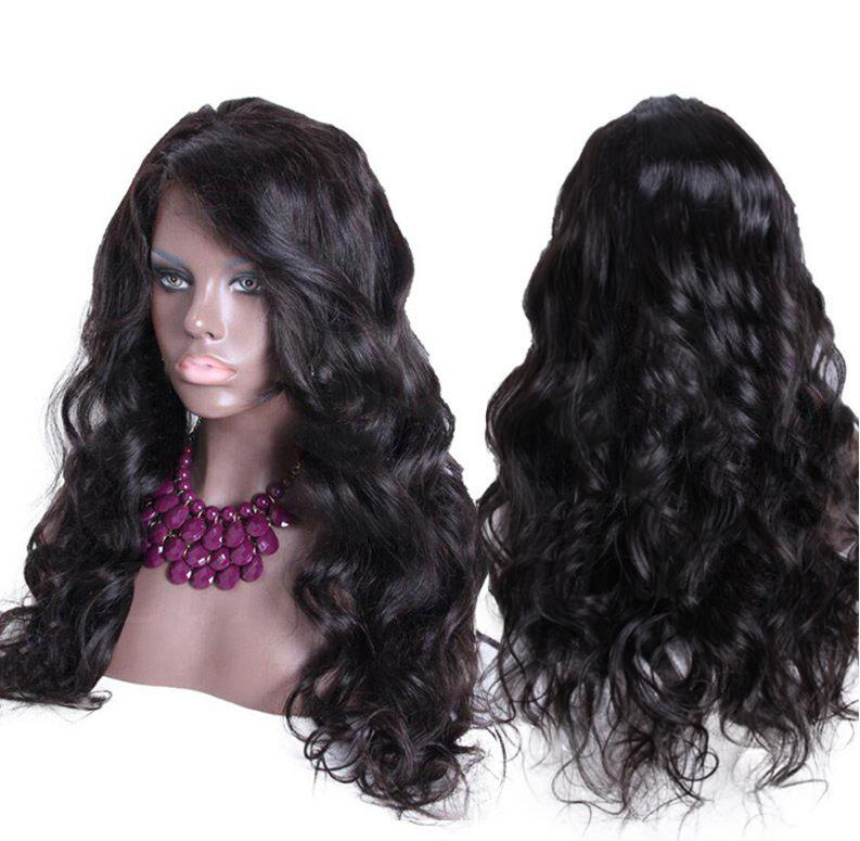Long Side Parting Bouffant Thick Body Wave Synthetic Wig - NATURAL BLACK