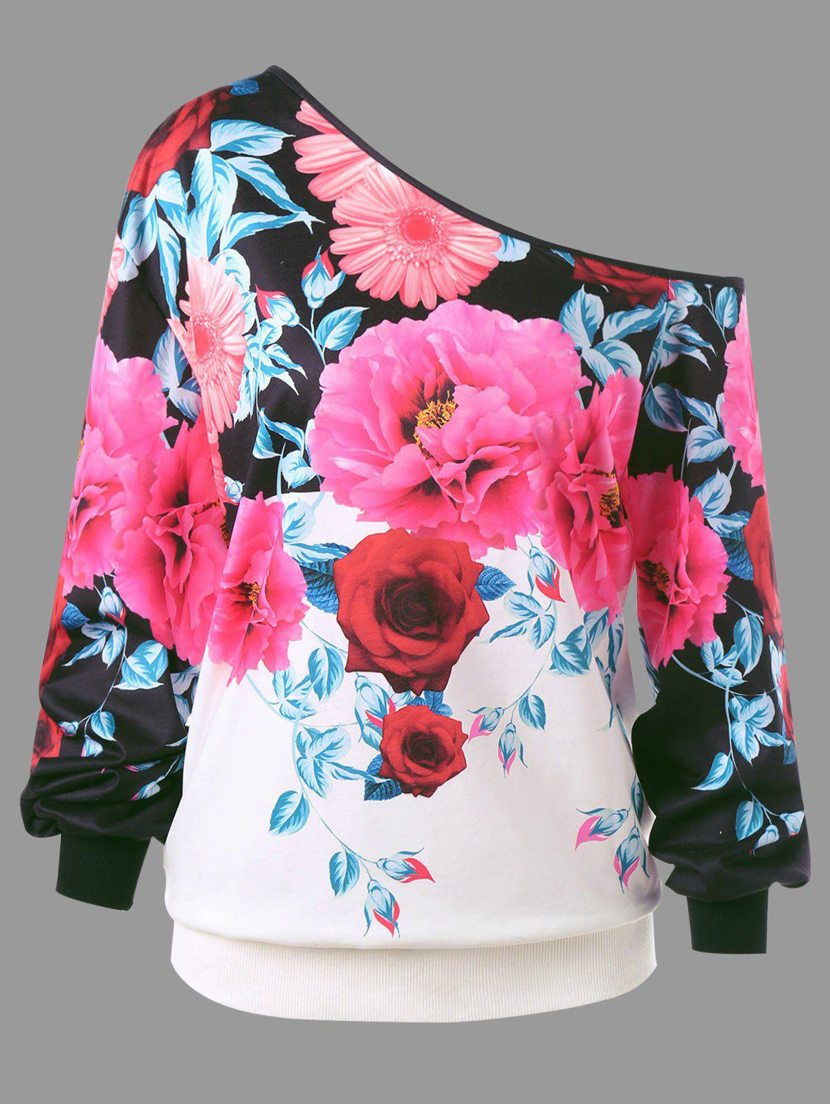 Plus Size Skew Neck Floral Sweatshirt plus size skew neck floral sweatshirt