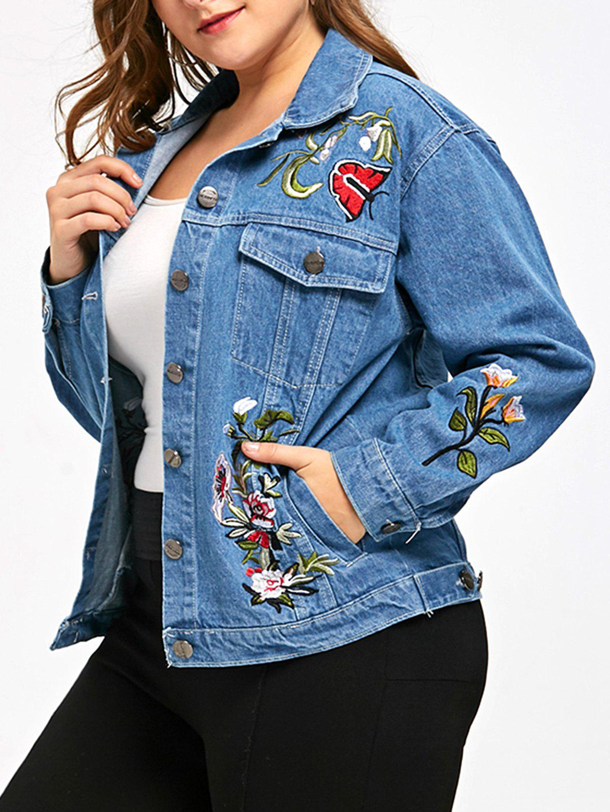 Embroidery Plus Size Denim Jacket - DENIM BLUE 5XL