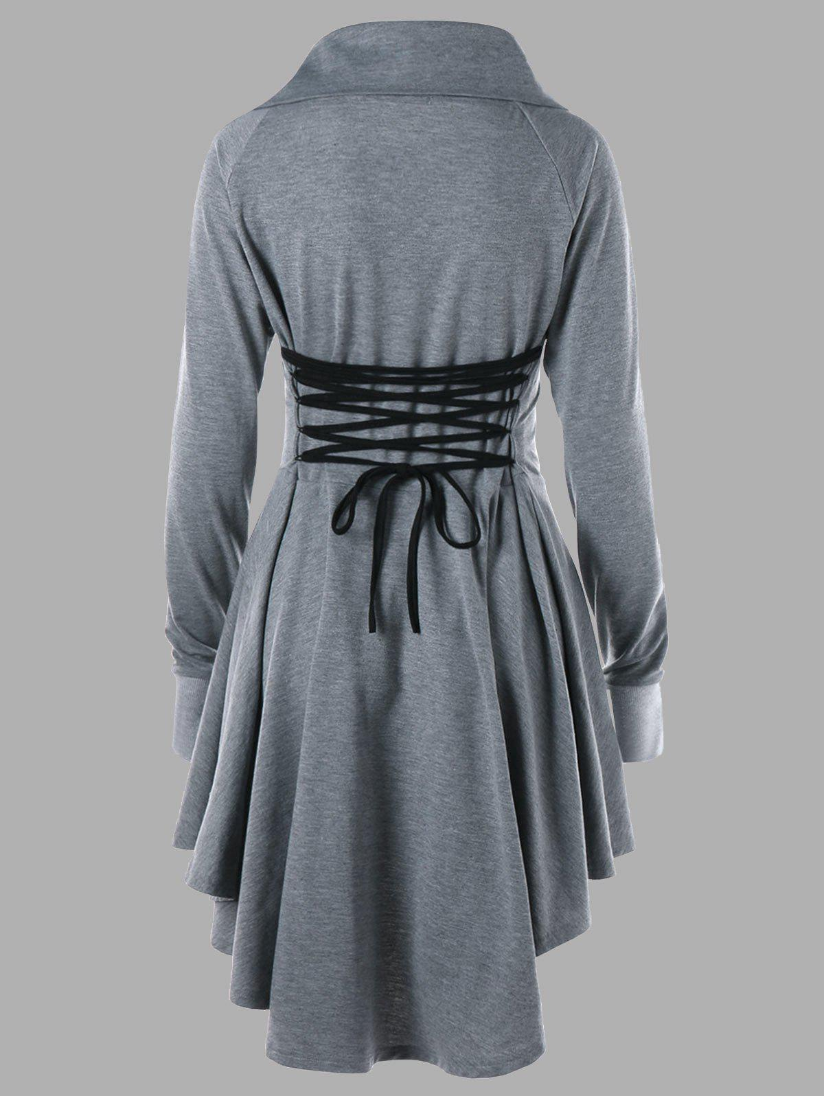 Plus Size Long Sleeve Lace Up Skater Dress - GRAY 4XL