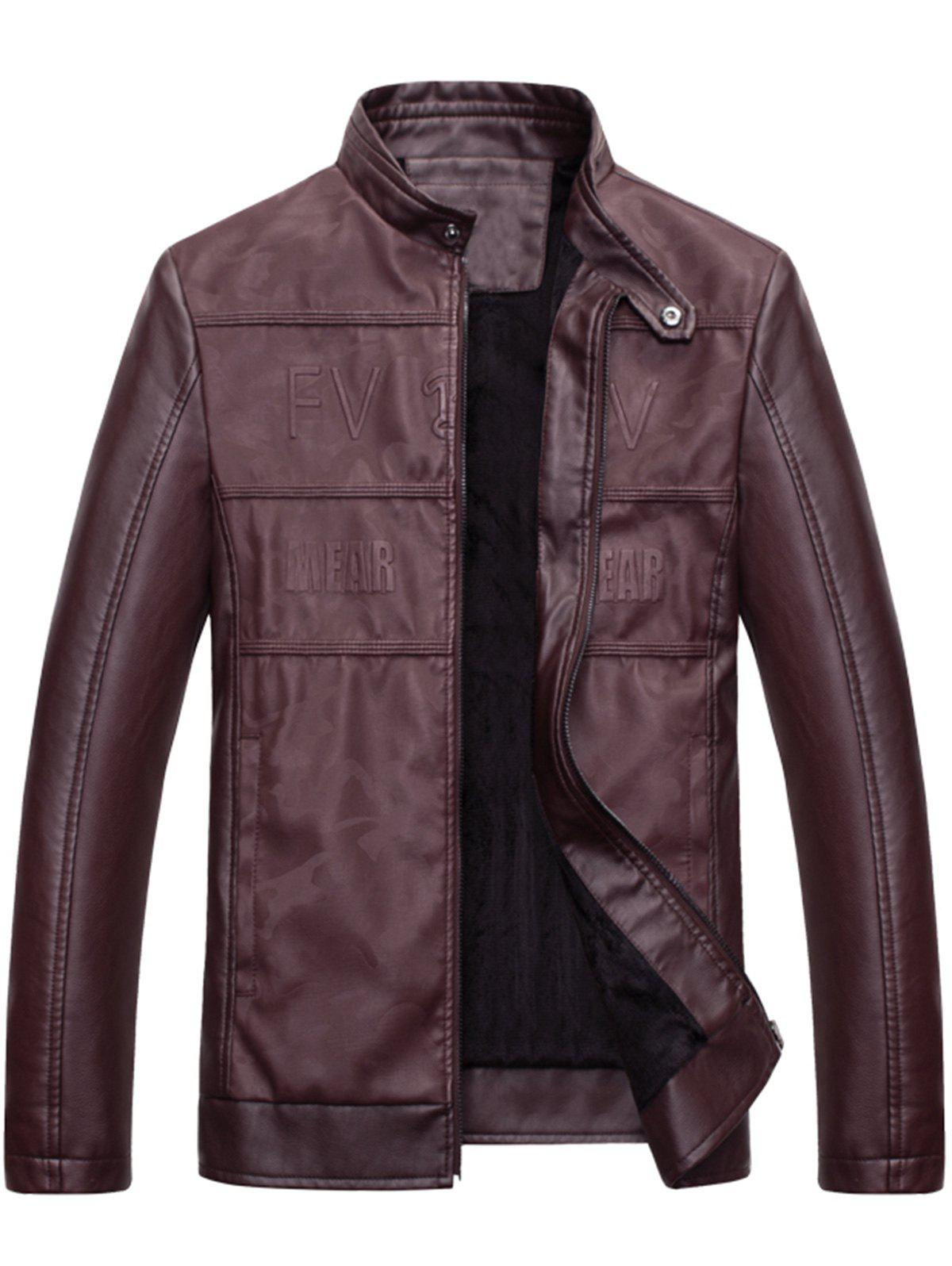 Graphic Stand Collar Faux Leather Jacket - WINE RED XL