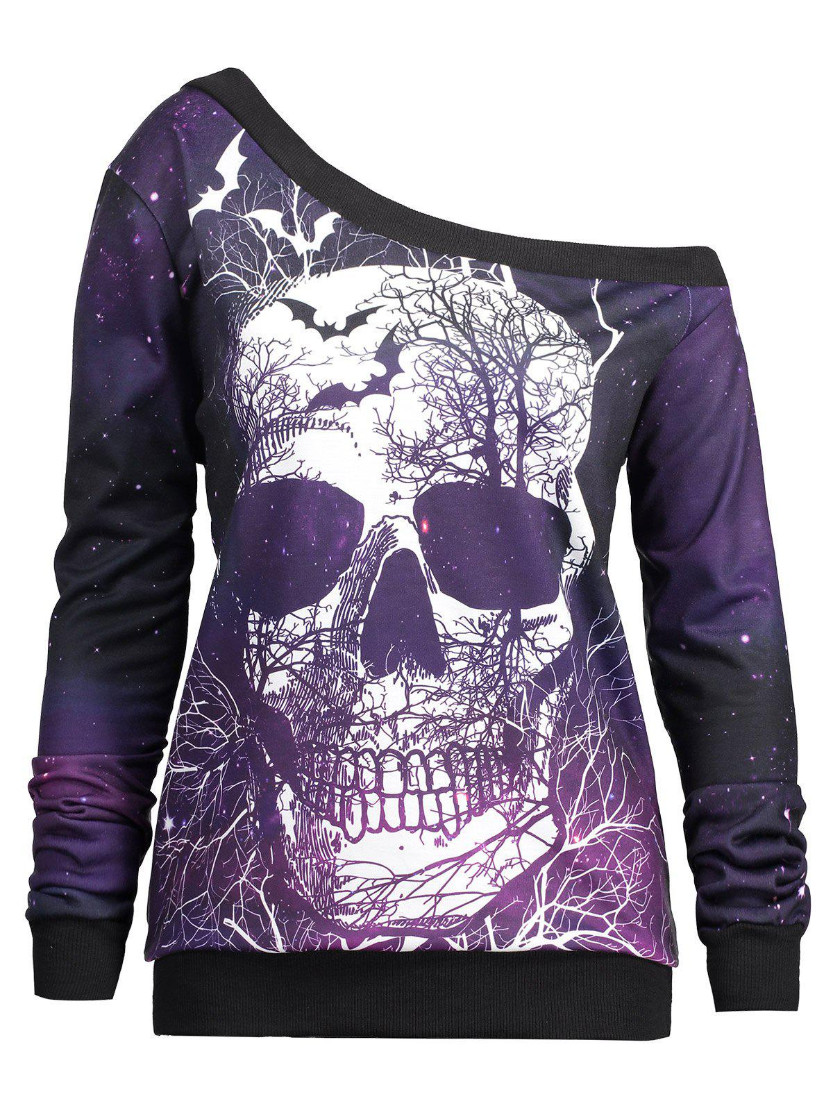 Halloween Skull and Galaxy Printed Skew Neck Sweatshirt - PURPLE XL