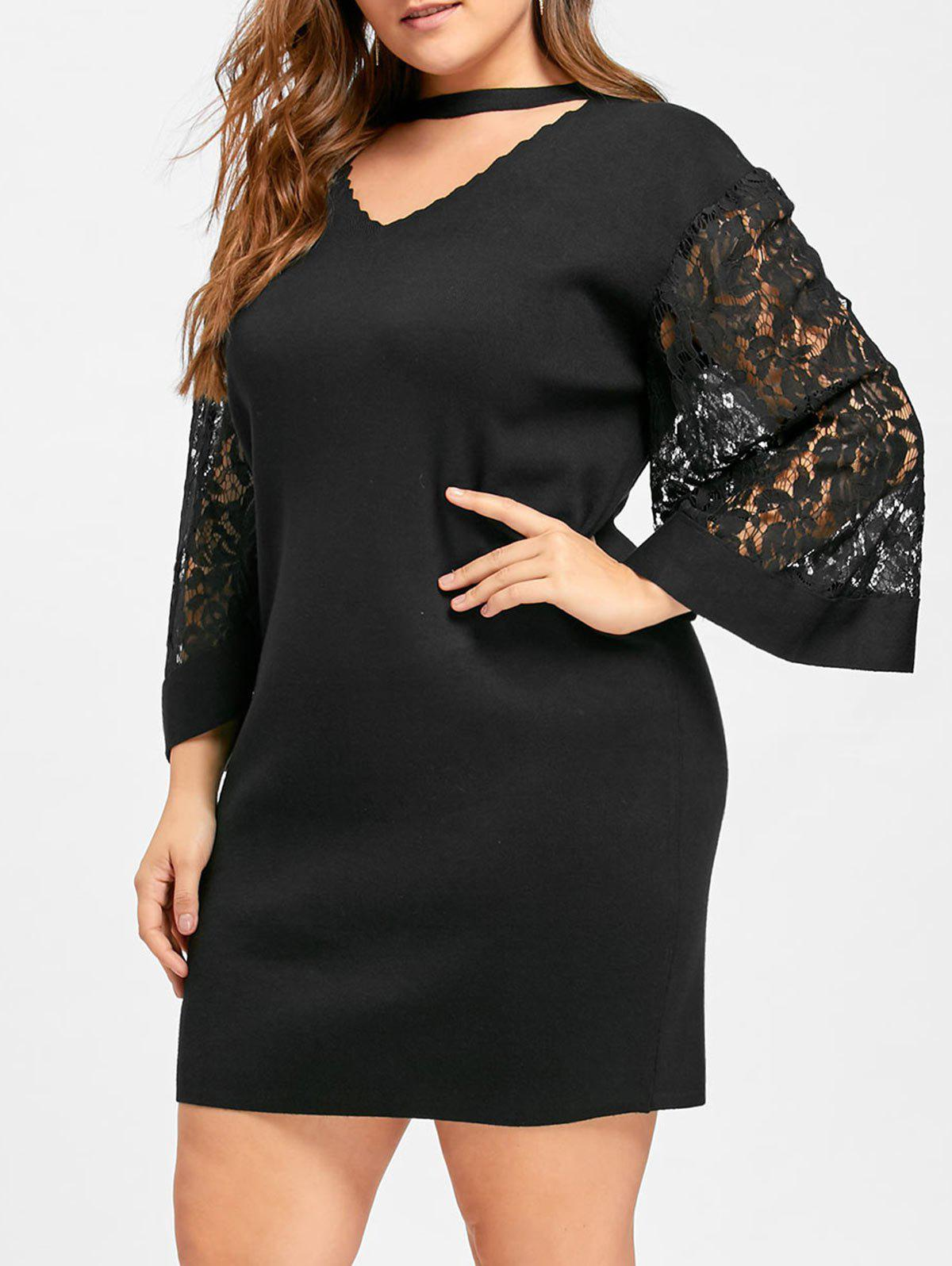 Lace Trim Sleeve Plus Size Choker Dress
