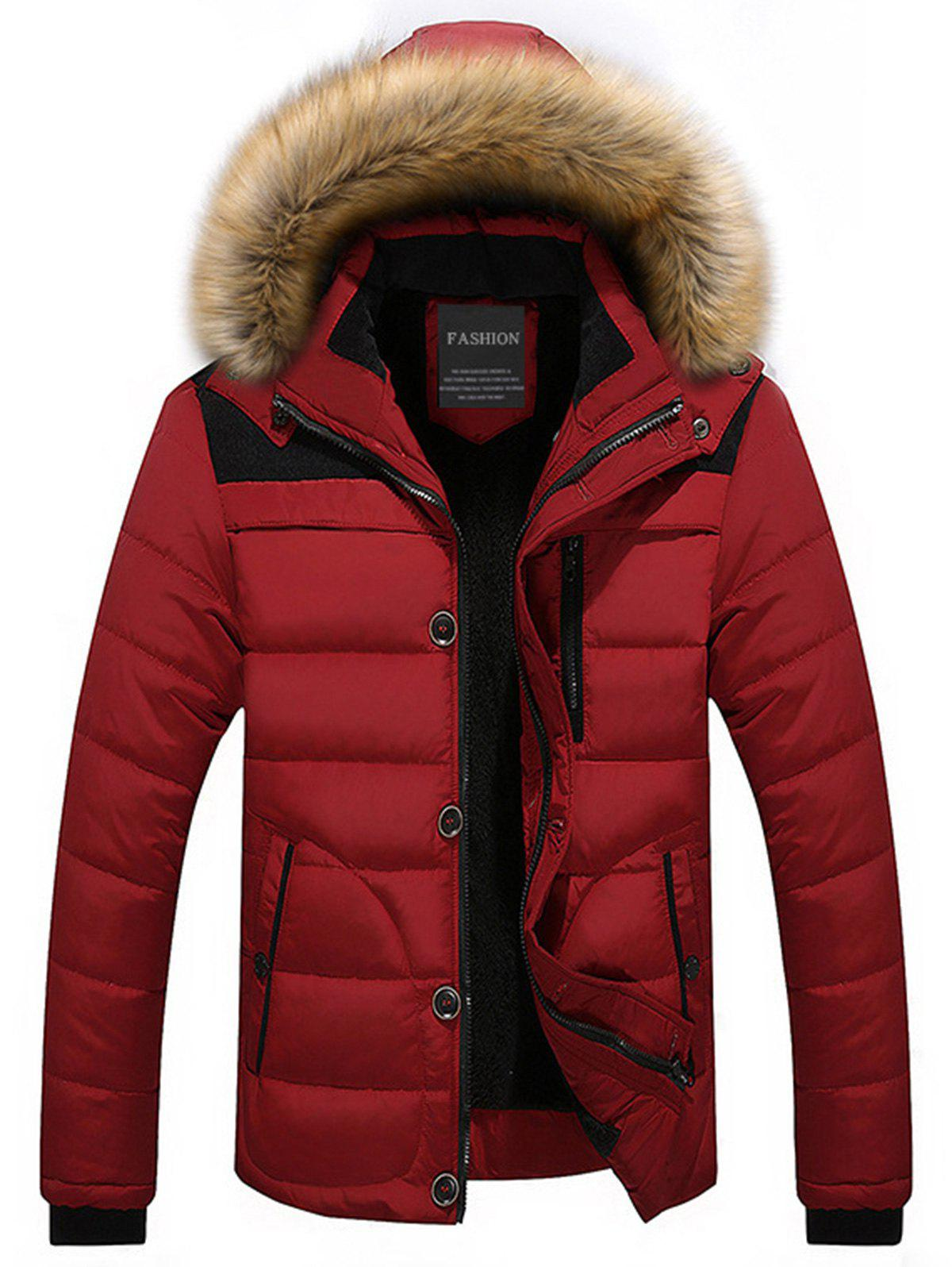 Zip Up Faux-fur Hooded Puffer Jacket - RED L