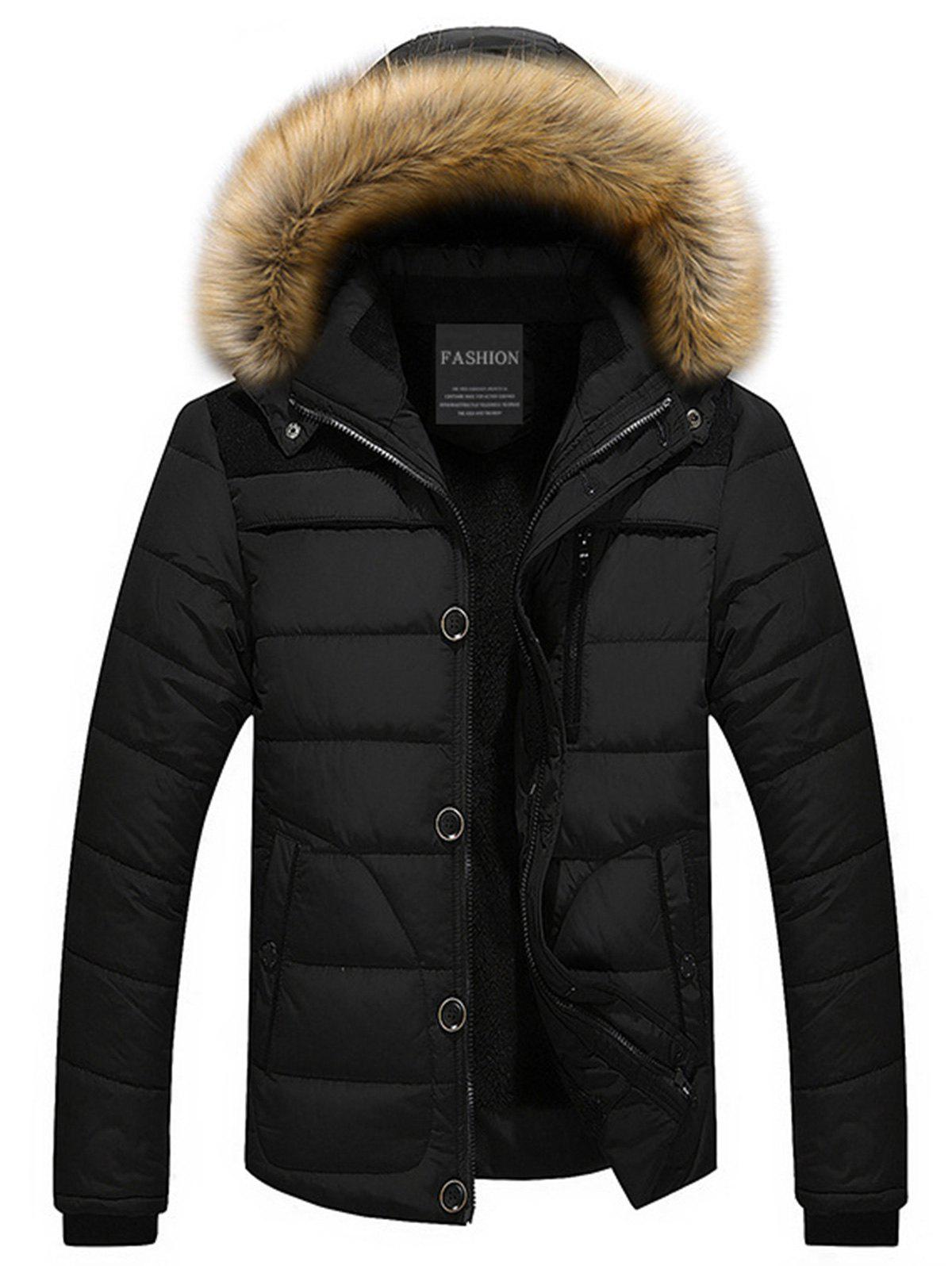 Zip Up Faux-fur Hooded Puffer Jacket faux fur collar puffer jacket