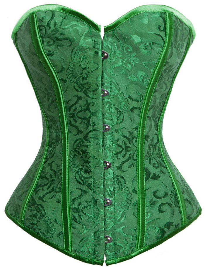 Lace-up Jacquard Push Up Corset - GREEN 2XL