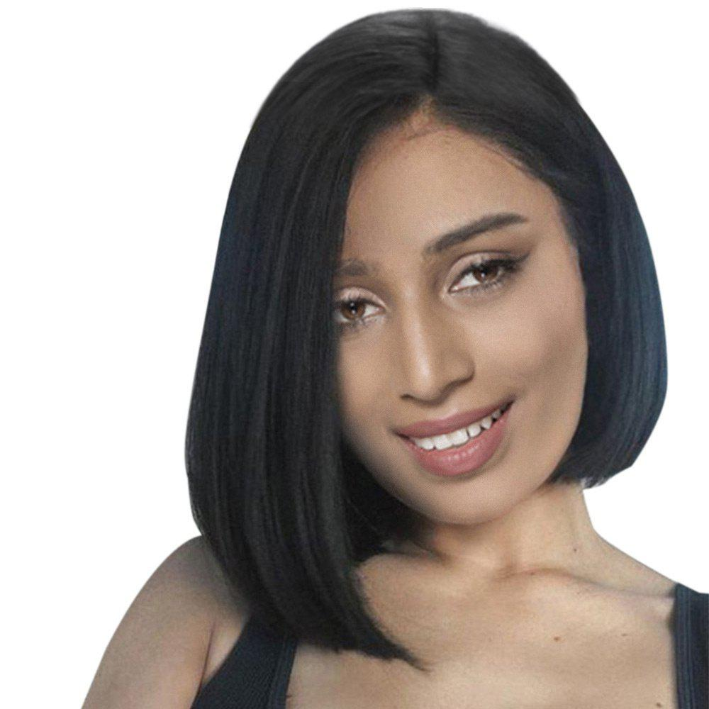 Side Part Straight Short Bob Human Hair Wig - JET BLACK