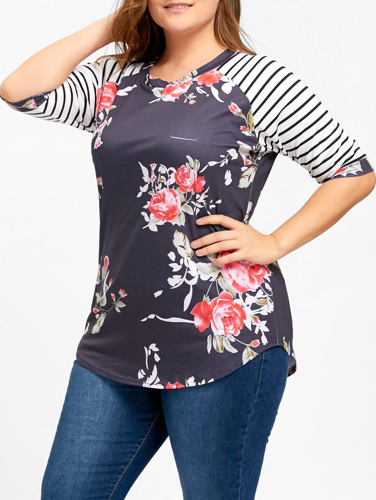 Striped Raglan Sleeve Plus Size Floral Top - BLACK XL