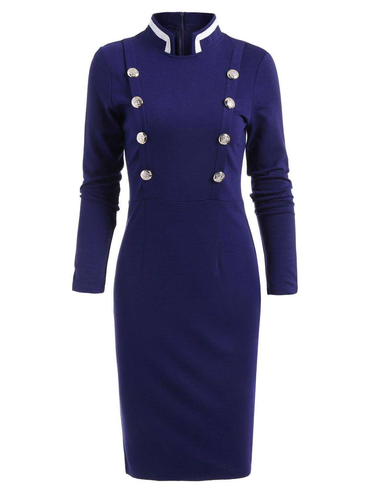Double Breast Long Sleeve Vintage Pencil Dress - BLUE L
