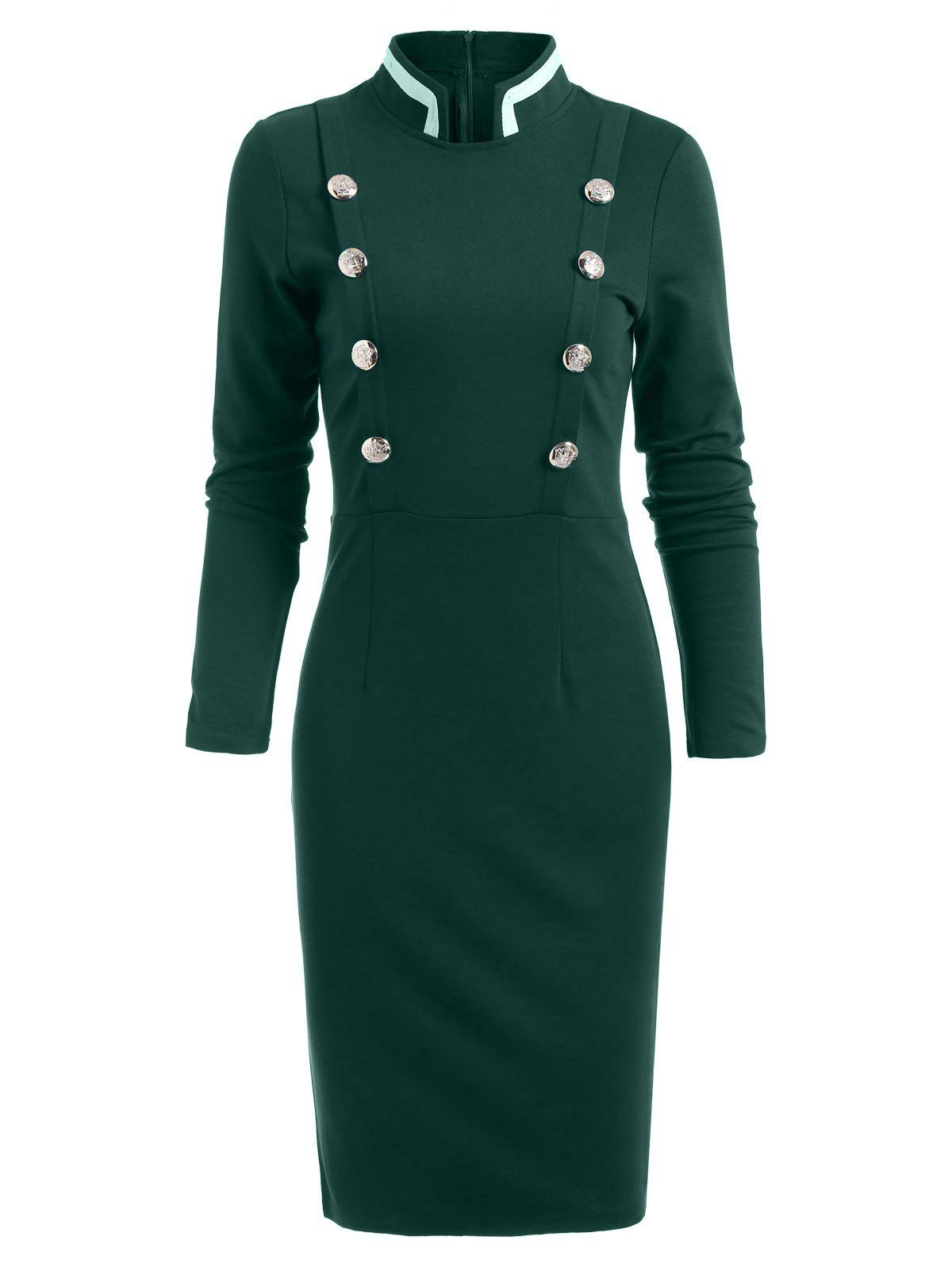 Double Breast Long Sleeve Vintage Pencil Dress - GREEN S