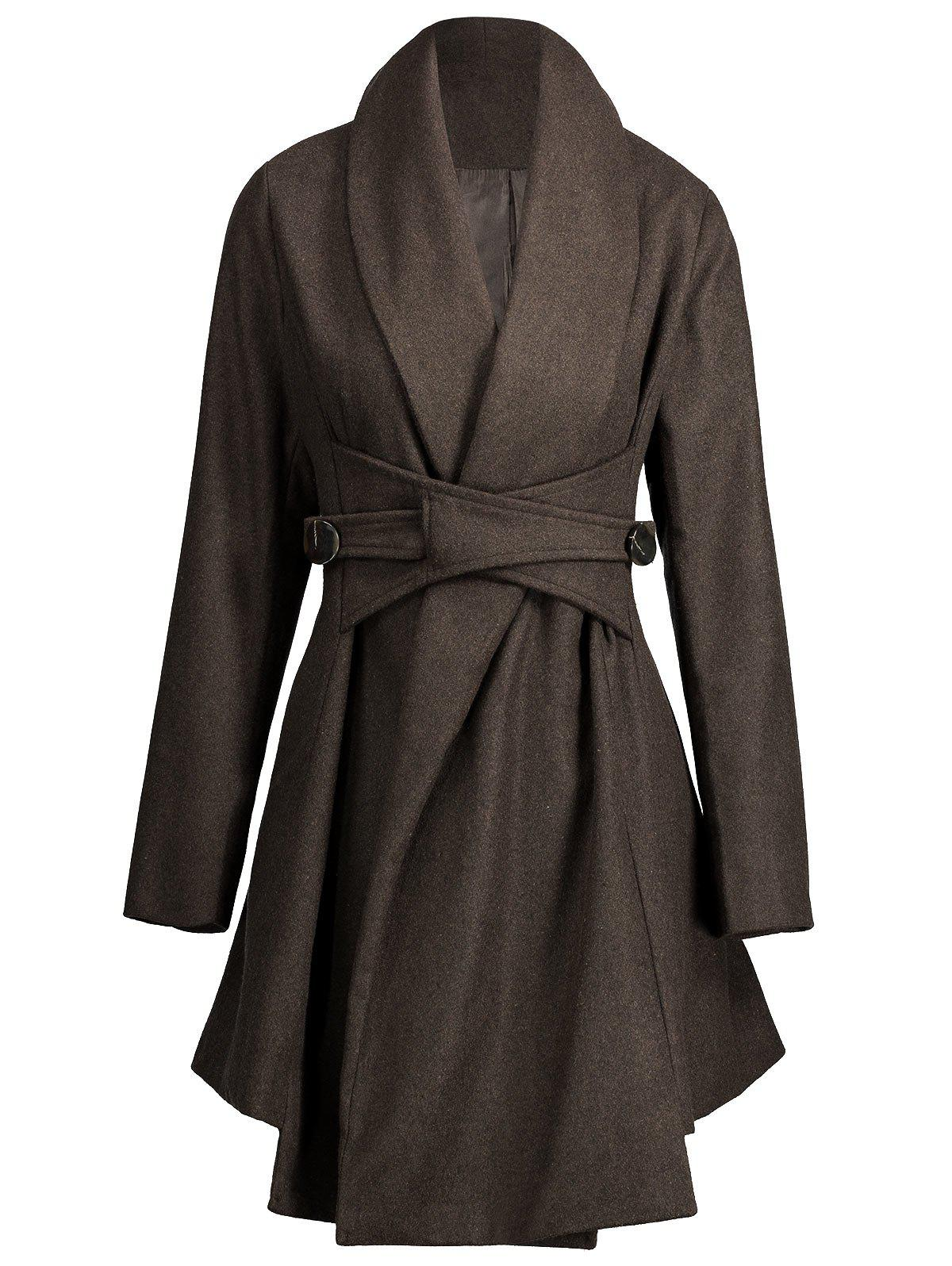 Turn Down Collar Felt Asymmetrical Coat - DARK COFFEE M