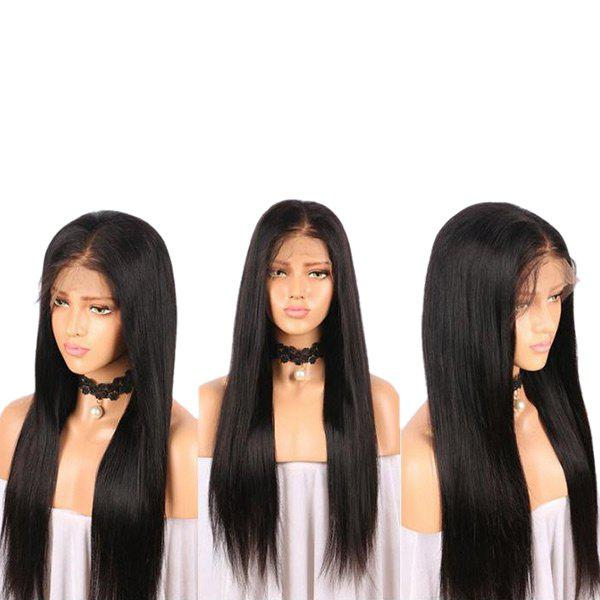 Long Middle Part Straight Real Human Hair Lace Front Wig - BLACK