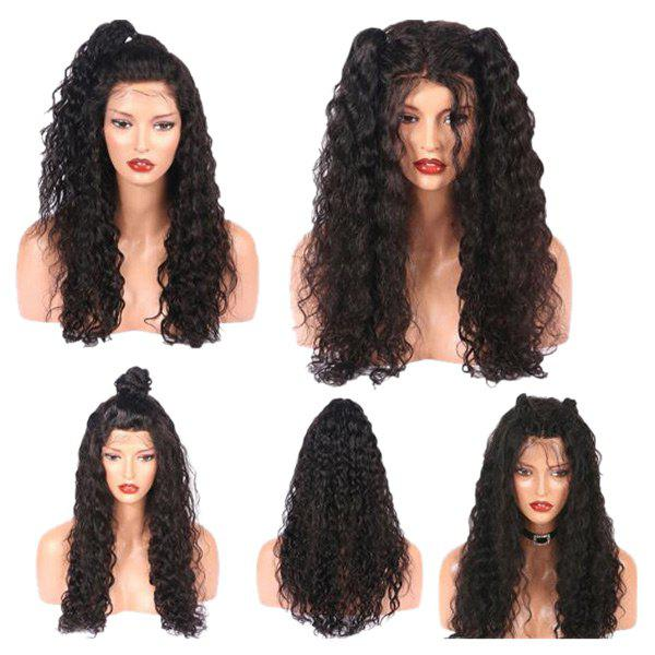 Long Free Part Fluffy Water Wave Real Human Hair Lace Front Wig - NATURAL BLACK